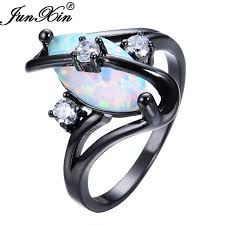 aliexpress buy junxin new arrival black aliexpress buy junxin gorgeous rainbow opal rings for