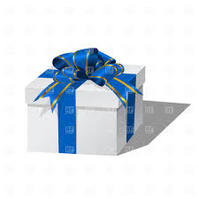 white blue ribbon white gift box with blue ribbon vector clipart image 1129 rfclipart