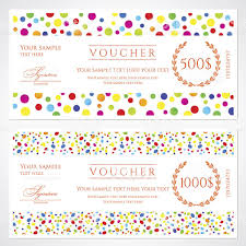 colorful voucher gift certificate coupon template banknote money