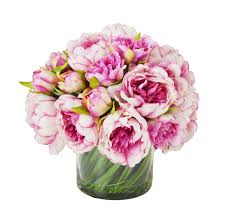 faux peonies faux magenta pink peony floral arrangement in glass vase
