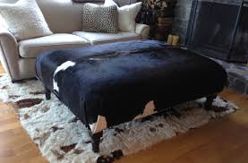 ottoman simple awesome cowhide ottoman with area rug and wood