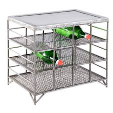 silver mesh metal 12 bottle wine rack zallzo