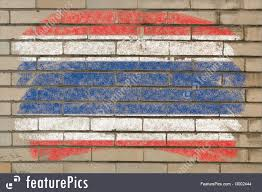 Thai Flag Flags Flag Thailand Of On Grunge Brick Wall Painted With Chalk