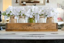 table centerpiece custom made rustic planter box with 5 painted jars