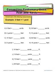 unit conversion worksheet converting feet and yards