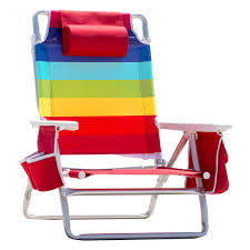 Rio 5 Position Backpack Chair Nautica Beach Chair W Side Cooler Pouch U0026 Cup Holders Rainbow