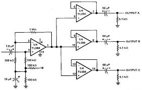 3 channels audio splitter lifier circuit diagram electronics
