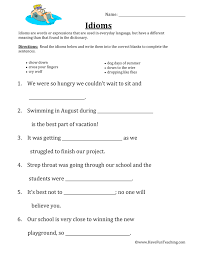 idiom worksheets have fun teaching