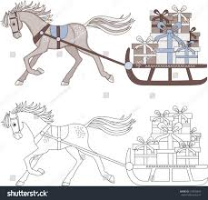 horse driven sleigh gifts coloring color stock vector 518029843