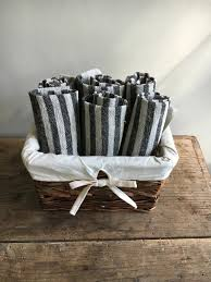 rustic kitchen towels set of four linen towels striped towels