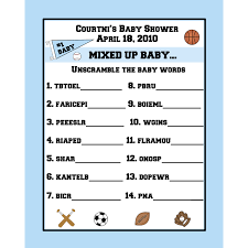 24 personalized word scramble baby shower game cards sports