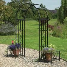 greenhurst huntingdon ornamental arch with planters garden street