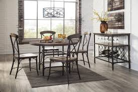 Dining Room Tables Nyc Signature Design By Ashley Rolena Industrial Metal Wood Round