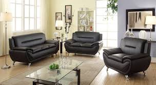 Set Furniture Living Room Norton 3 Pc Black Faux Leather Modern Living Room Sofa Set