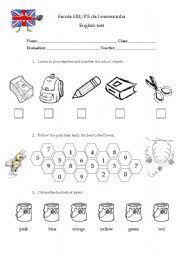 worksheet 1st grade test
