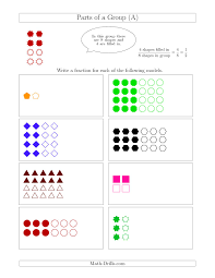 3rd Grade Fractions Worksheets Parts Of A Group Fraction Models With Halves Only A