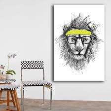2016 free shipping cuadros decoracion painting hipster lion home