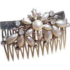vintage hair combs vintage hair comb regency rhinestone faux pearl hair