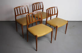 Set Of Teak Dining Table Set Of 4 Niels Moller Mid Century Danish Modern Teak Dining Chairs