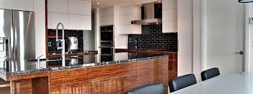 cuisine contemporaine de laque et de noir armoires et îlot de cuisine contemporaine