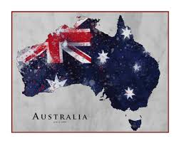 Austrslia Flag Australia Map Watercolor Map Map Of Australia Queensland