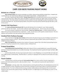 billygoats bbq beer dinner 1 19 cape cod beer cape cod beer
