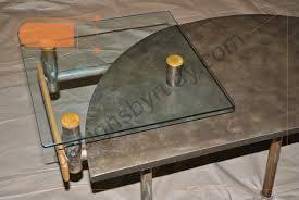 Custom Coffee Table by Custom Coffee Table Concrete Glass Tops Copper Tubing Legs