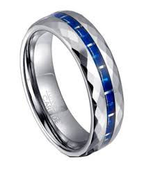 mens blue wedding bands tungsten blue carbon fiber ring for men with faceted edges