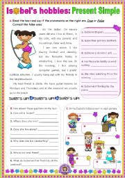 english worksheet isobel s hobbies simple present reading