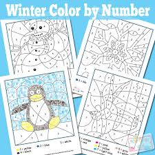 winter color by numbers worksheets itsy bitsy
