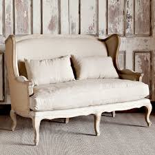 park hill collection country linen u0026 burlap wingback settee
