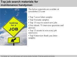 Sample Resume For Handyman Position by Maintenance Handyman Cover Letter