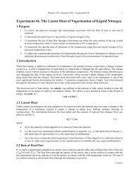 experiment 4 the latent heat of vaporization of liquid nitrogen