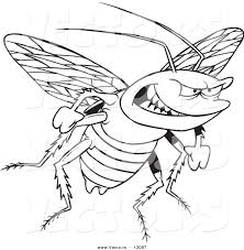 vector of a cartoon evil cockroach coloring page outline by