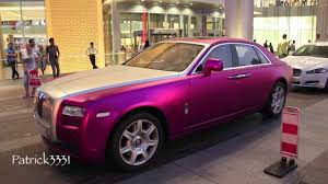 matte rolls royce matte frosted purple rolls royce ghost at dubai mall youtube
