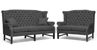 baxton studio sussex dark gray linen sofa set affordable modern