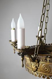 Tudor Chandelier Six Candle Tudor Chandelier With Bent Glass Globe For Sale At 1stdibs