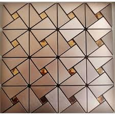 glass mosaic diamond brushed aluminum alucobond tile kitchen