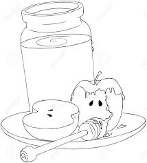 a vector illustration coloring page of a honey jar and sliced