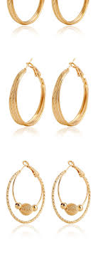 korean earings fashion gold color circle shape decorated layer design