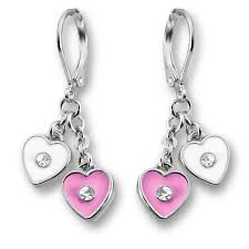 are leverback earrings for pierced ears pink purple two heart dangle lever back earrings pierced