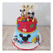 mickey mouse cake mickey mouse clubhouse two tier cake with 2 characters rumble