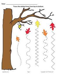 fall tree trace line worksheet wavy lines tracing worksheets