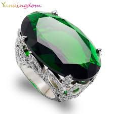green rings images Yunkingdom cut oval green cubic zirconia wedding fine jewelry jpg