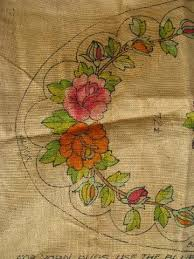 painted flowered oval vintage hessian burlap hooked rug canvas to