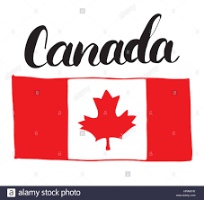 canada hand drawn flag with maple leaf and calligraphy lettering