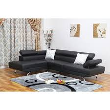 left facing chaise sectional sofa sofia 2 pc black faux leather modern living room left facing chaise
