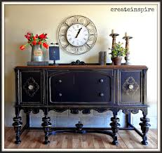 from barn to beautiful antique buffet in black black painted