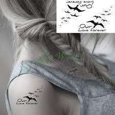 waterproof temporary tattoo sticker small fly birds tattoo