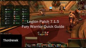 Bajheera Legion Arms Warrior Talent Guide Pve Pvp Legion How To Fury Warrior 7 1 5 Guide